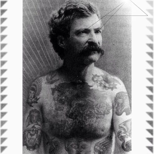 Mark Twain with photoshopped tattoos