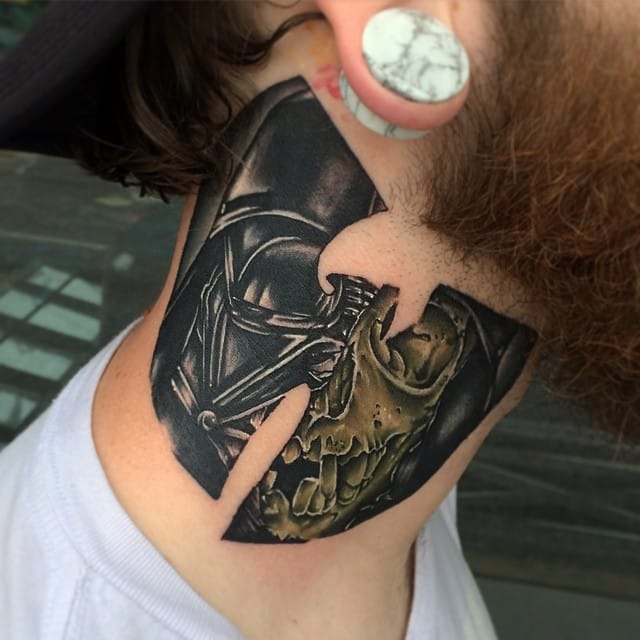 Protect ya neck! Vader Skull tattoo by Jeff Zalesak.