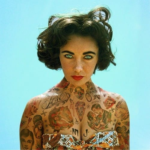 Elizabeth Taylor covered in tattoos