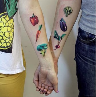 These best friend tattoos that will make all veggie lovers swoon by @sashaunisex
