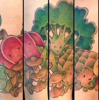 A group of kawaii little veggies that belong in a manga book by @jennybunnybuns