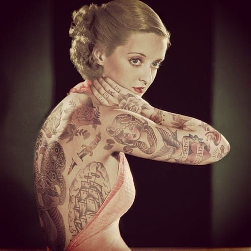 Bette Davis with tattoos