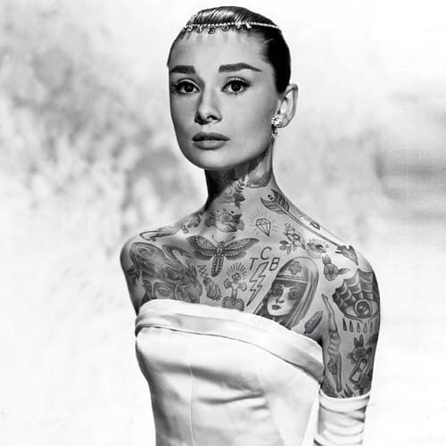 Audrey Hepburn covered in tattoos