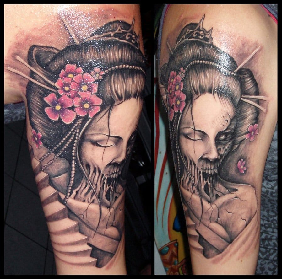 25 Hair-Raising Zombie Geisha Tattoos