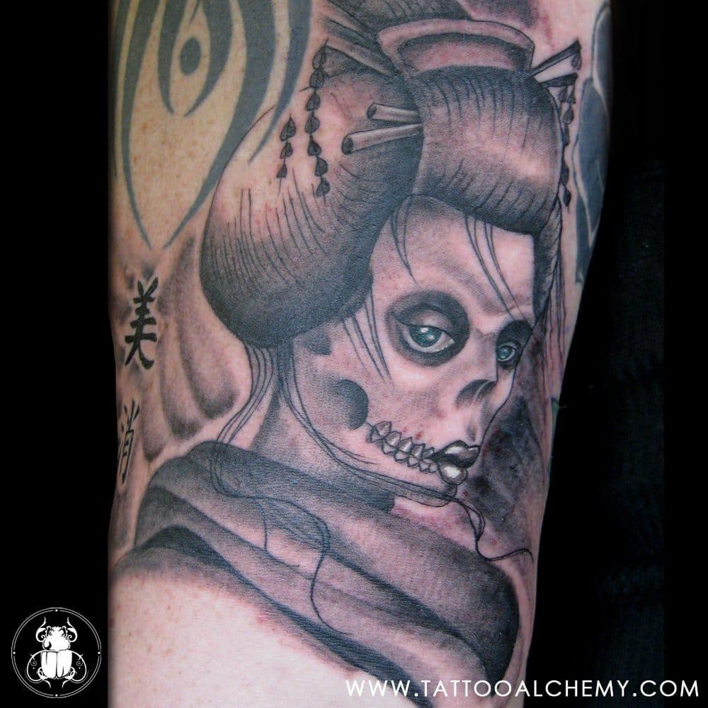 25 Hair Raising Zombie Geisha Tattoos Tattoodo
