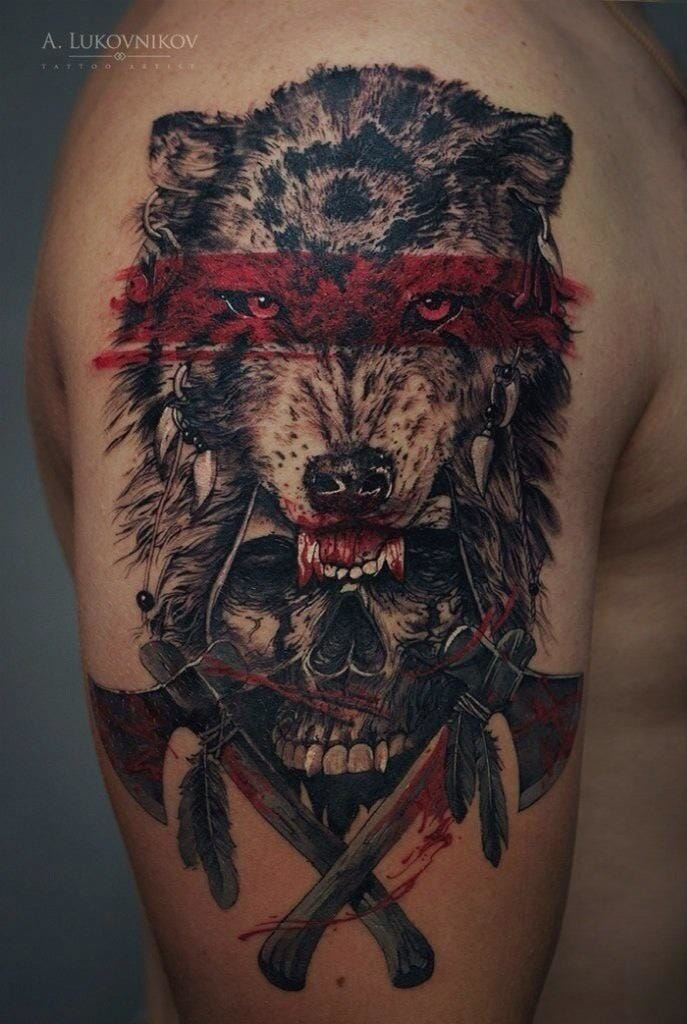 Wolf tattoo, Artist unknown. #wolf #wolftattoo
