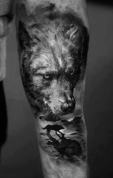 Wolf tattoo by Domantas Parvainis #wolf #wolftattoo