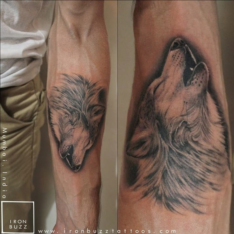 Wolf tattoo, artist unknown.