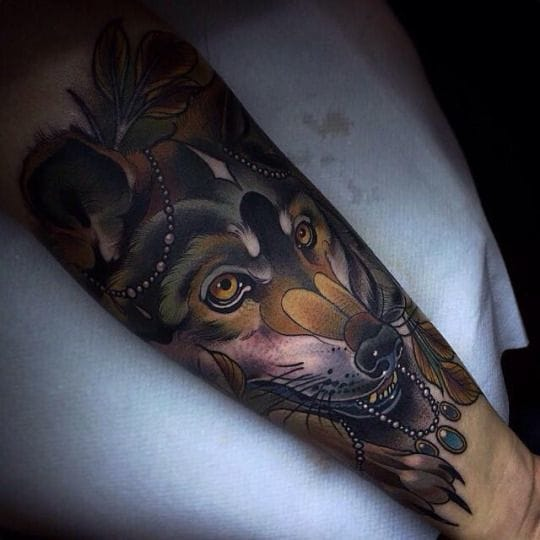 Wolf tattoo by Aniela #wolf #wolftattoo