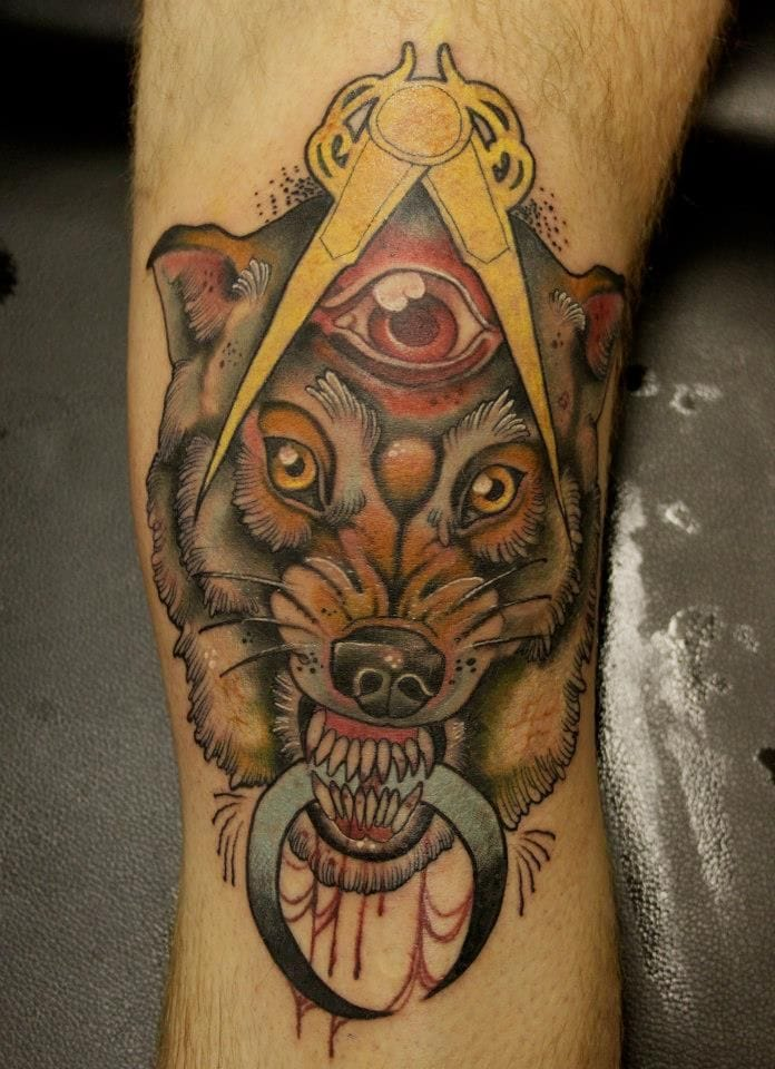 Wolf tattoo by Jeff Gogue #wolf #wolftattoo