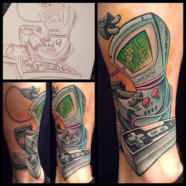 New school goes well with gamer tattoos... By Craig Measures.