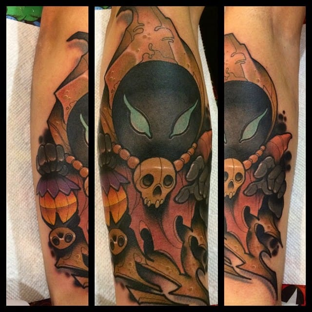 Cool tattoo by David Tevenal of a Poe.
