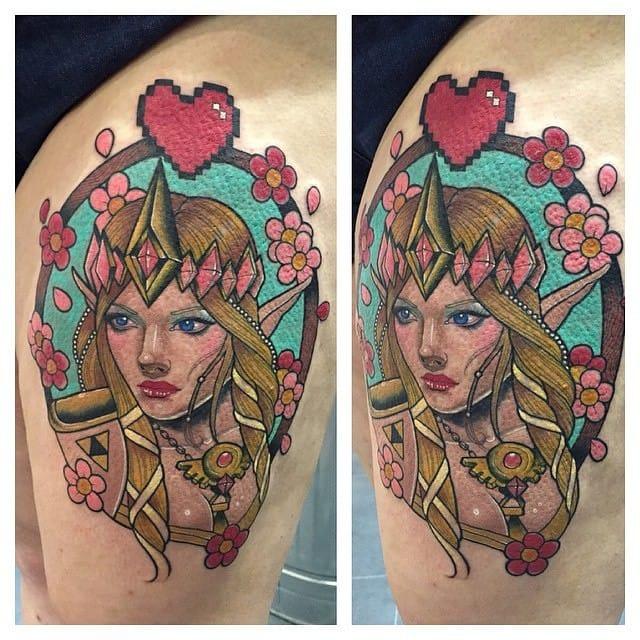 Cute Princess Zelda tattoo by Drew Romero!