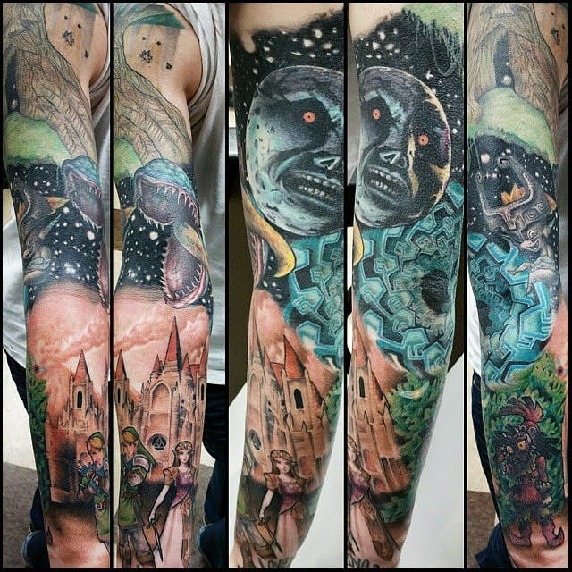 That's one of the most epic Legend of Zelda tattoos... A killer sleeve by Heather Beebe!