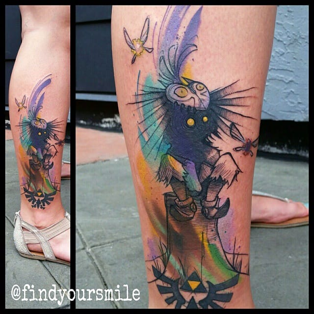 A creative tattoo of the Skull kid by Russell Van Schaick!
