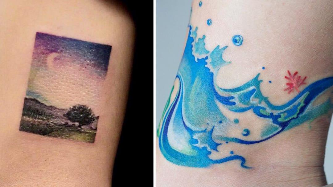 Watercolor Tattoos: Like Musings of Monet