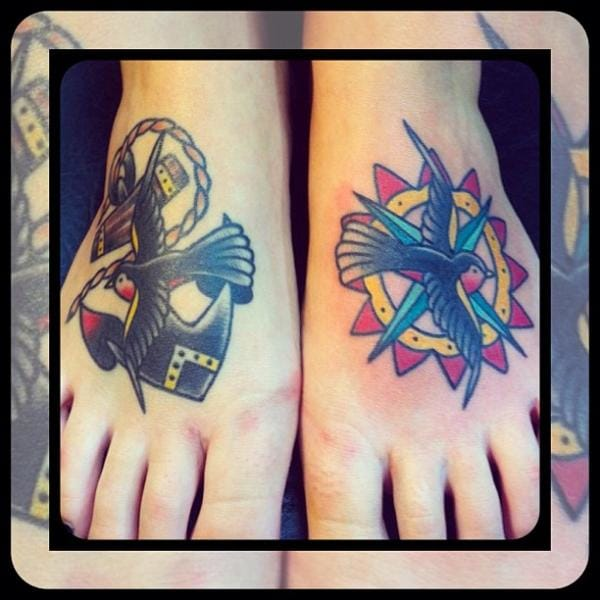 Traditional foot work by Forever True Tattoo
