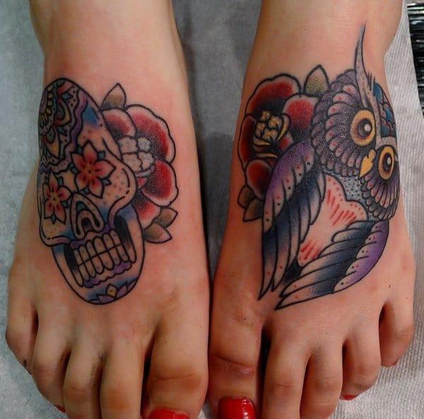 Sugar skull and owl by Jason Corbett