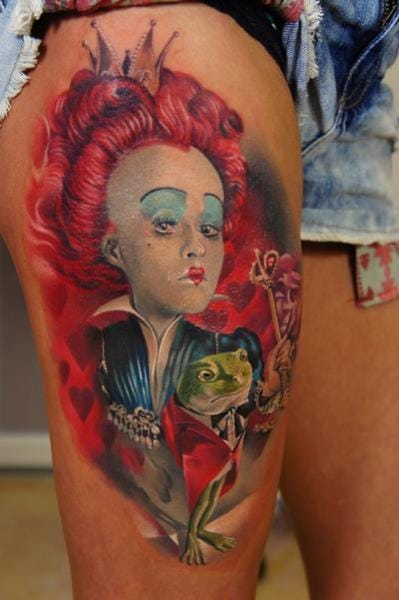 Helena Bonham Carter as the Red Queen by Grimmy 3D Tattoo