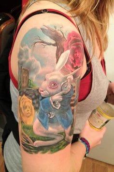 Beautiful white rabbit tattoo by Halo Jankowski