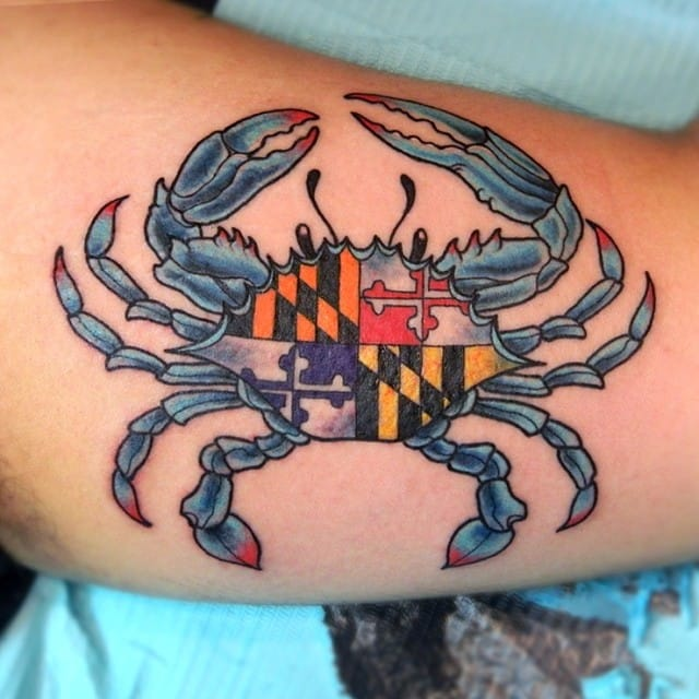 Blue crab tattoo images galleries for Maryland crab tattoo