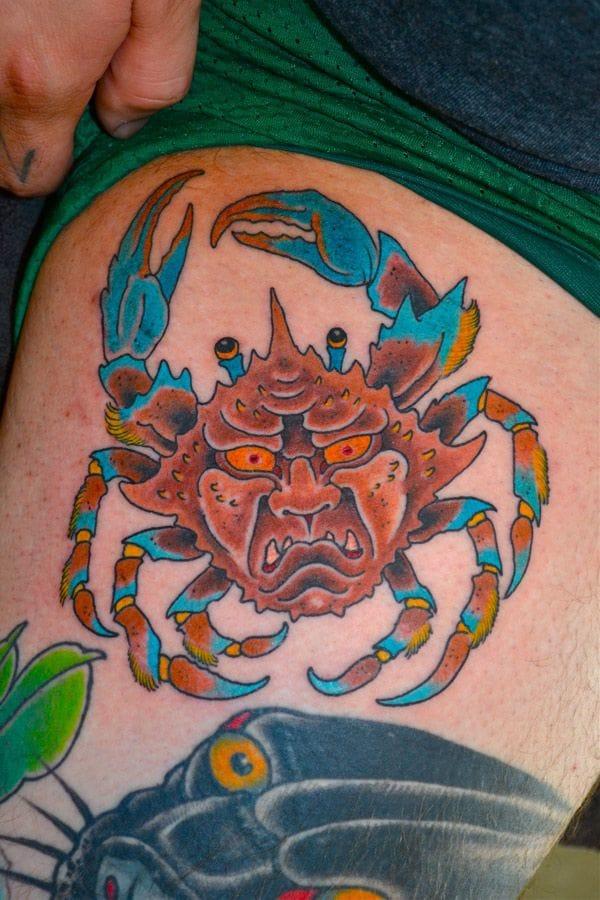 Luke Stewart, Japanese Heikegani Crab Tattoo