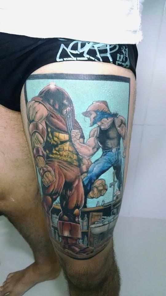 Wolverine e Juggernaut do Will Tatuagens, do Espírito Santo