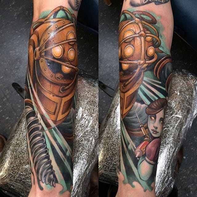 Lovely Bioshock tattoo by Chad Lenjer!
