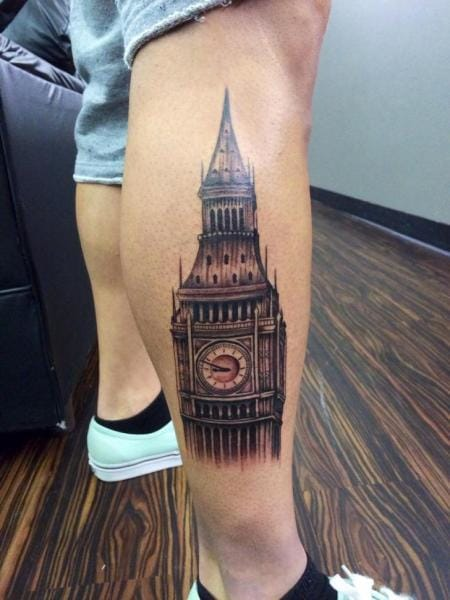 Big Ben is a British icon and London landmark. Here it is tattooed by Last Angels Tattoo