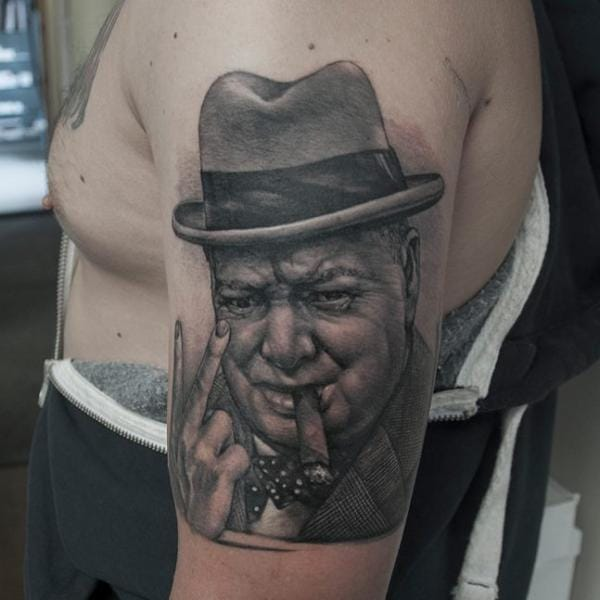 Sir Winston Churchill is Britain's best known Prime Minister and led the nation through WWII... tattoo by Rock Tattoo