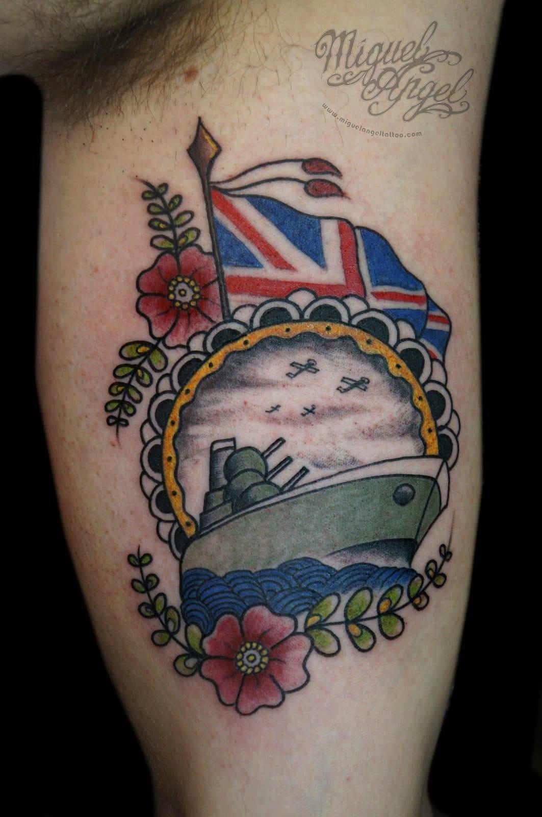 Miguel Angel tattooed this British naval tribute!