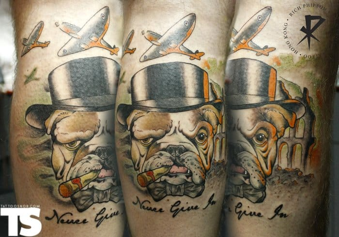 What's more British than the great British Bulldog, tattoo by Rich Phipson