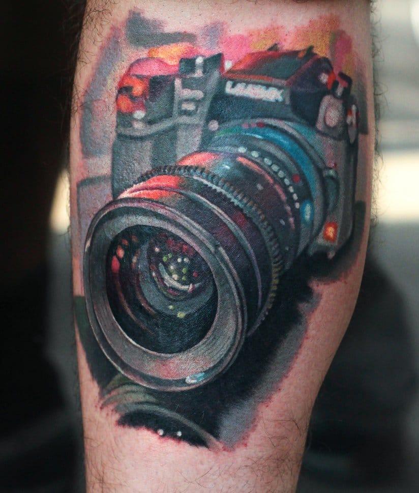 Fantastic camera tattoo... unknown artist