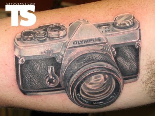 Camera tattoo by Scott Olive