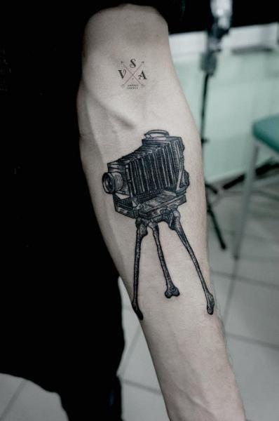 Dotwork camera by Master Tattoo