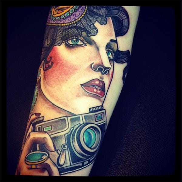 Gypsy girl and camera by Time Travelling Tattoo