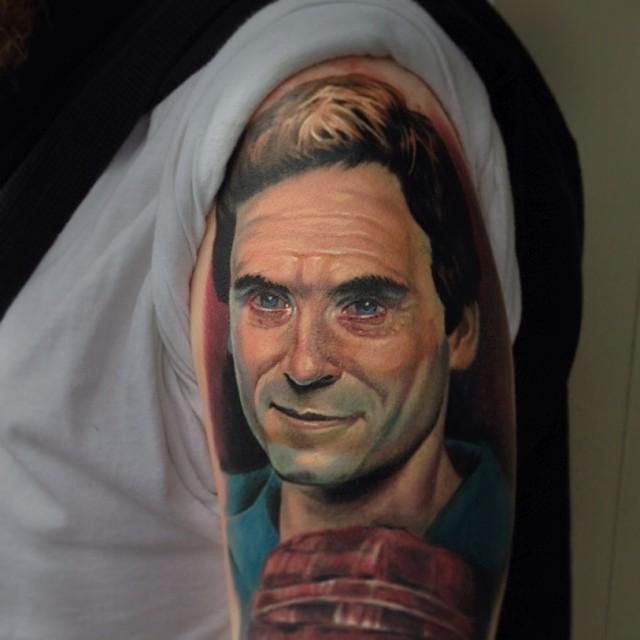 Serial killer Ted Bundy tattoo by Evan Olin