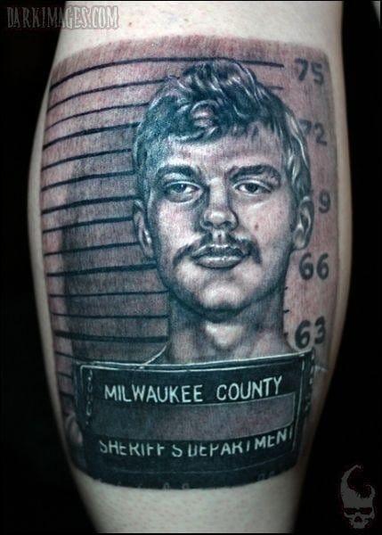 This mugshot tattoo is by Tim Kern.