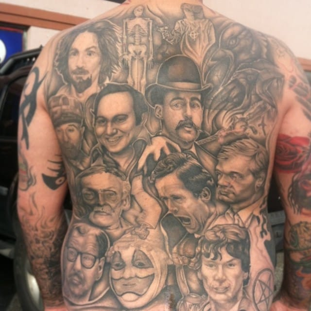 Back piece tattoo of criminals by Butter