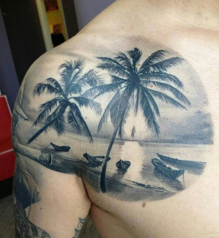 Idyllic beach tattoo. Credit the artist in comments please.