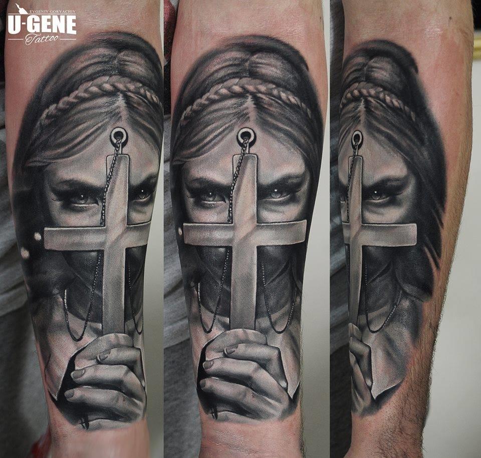 You can brandish your cross tattoos against demons... Fantastic piece by U-Gene! #cross #crosstattoo #demons #ugene