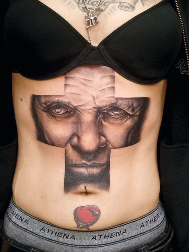 This Hannibal Lecter tattoo by Manu Badet! #cross #crosstattoo #lectertattoo #hanniballecter #manubadet