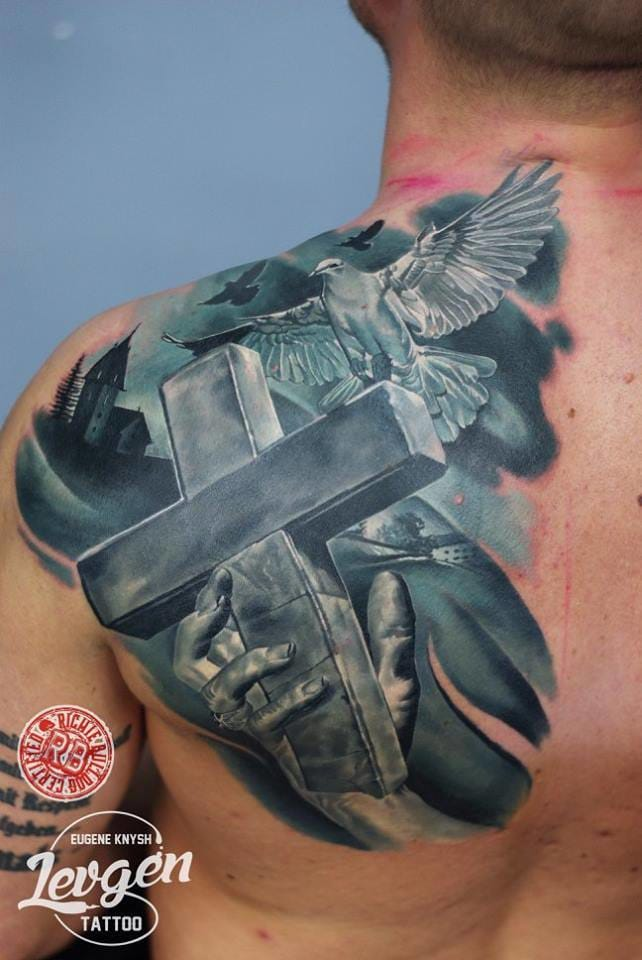 Brilliant work, one of the realistic pieces of cross tattoos, made by Levgen! #cross #crosstattoo #levgen #realistic