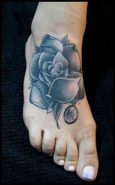 Foot rose by White Rabbit Tattoo #footrose #whiterabbit #foottattoo