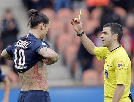yellow card for showing the gesture