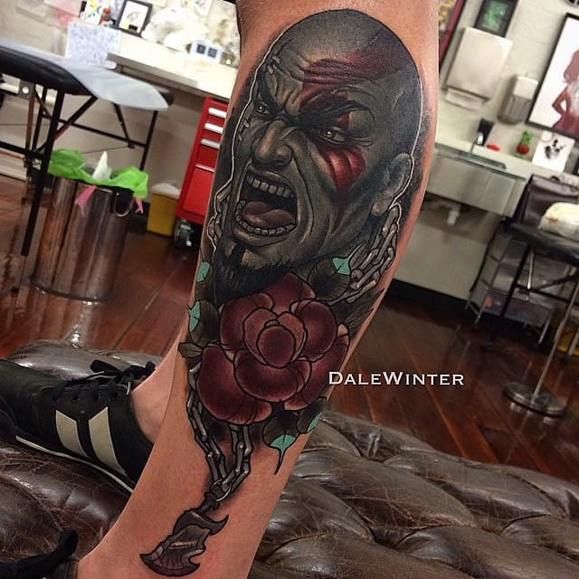 Creative neo traditional Kratos tattoo by Doyle Winter.