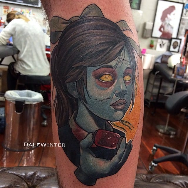 Looks like Mr Doyle Winter enjoys doing video game tattoos. Here a piece inspired by Little Sister from Bioshock.