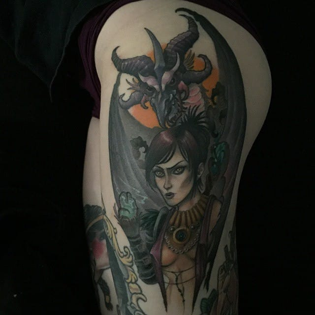 Cool thigh piece by Erin Chance with Morrigan from Dragon Age.