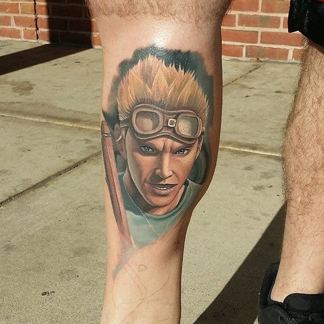 Cid from Final Fantasy VII tattooed by Halo.