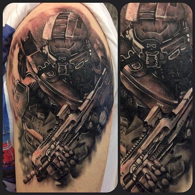 Another badass Halo tattoo by Jennifer Sterry.